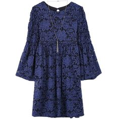 Girls 7-16 Speechless Bell Sleeve Lace Babydoll Dress with Necklace, Dark Blue