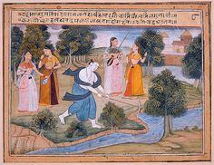 Balarama alters the course of the Jamuna River.  Series: Balarama Widens the Jamna River, Suite: Gita Govinda, Opaque watercolor and gold on paper, Bikaner court, 1640-1650