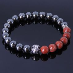 Men's Bracelet Healing Gemstone Hematite Red Jasper Stone Sterling Silver 137M #Handmade #MensHealingGemstoneSterlingSilverBracelet