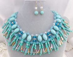 Chunky Blue Bead Statement Bib Necklace Set Silver Fashion Jewelry NEW #Core