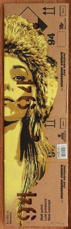 "by Tankpetrol - ""Winter hat94 (brown)"" - Stencil and spray on cardboard box"