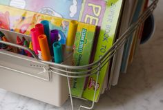 dish rack coloring station - 15 Amazing DIY Organizing Ideas - ParentMap