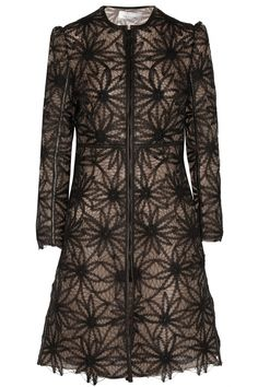Valentino Leather-trimmed embroidered mesh coat
