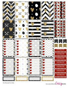 Free Printable Black and Gold Valentine Stickers for the Happy Planner from The Wonderful Life of the Crazy Mom