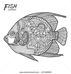 Sketch Animal Collection For Coloring Book Page Fabric Print Tattoo Design Isolated Black On White Background