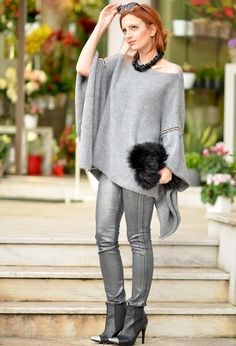 silver leggins, faux fur bag