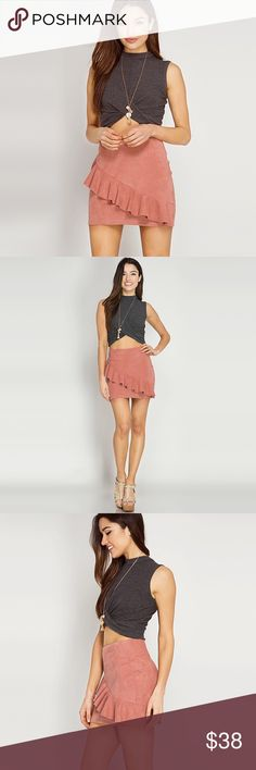 "Faux Suede Dusty Rose Ruffle Mini Skirt ❤️ BUNDLES ❤️ DISCOUNTS ❌ NO TRADES ❌ NO Low balling!  • Back Zipper  * MEASUREMENTS: • Small - Waist: 26.75"" Approx - Length: 15.5"" Approx • • Medium - Waist: 28.25"" Approx - Length: 16"" Approx • • Large - Waist: 31.5"" Approx - Length: 16.5"" Approx Skirts Mini"