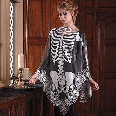 Skeleton Poncho - quickie costume for taking the kids to trick or treat the neighborhood