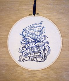 I am the Captain of my soul embroidery hoop by StitchesOfAnarchy