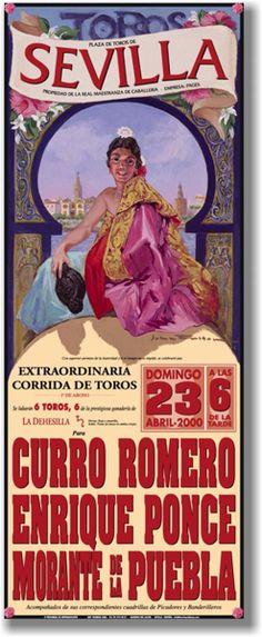 Cartel de Toros. Plaza de Toros de La Maestranza de Sevilla Spanish Architecture, Spanish Culture, Modern City, Andalucia, Vintage Travel Posters, Illustration Art, Bullfighting, Seville, Postcards
