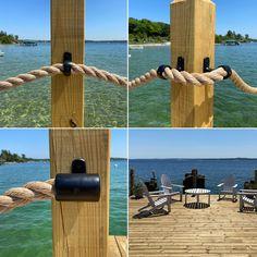 Outdoor Handrail, Rope Railing, Deck Railing Design, Deck Railings, Deck Design, Rope Fence, Patio Fence, Nautical Landscaping, Outdoor Landscaping