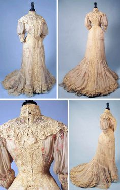 Chiffon and lace tea gown, ca. 1905. One piece, pigeon breast. Printed rose rings on white chiffon and cream chemical lace on bodice & skirt. Augusta Auctions