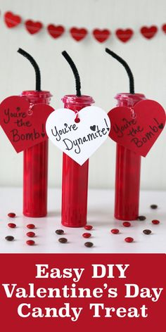 This easy DIY Valentine's Day Candy gift idea is great for school Valentine's Day parties. Kids will love making and receiving these creative candy dynamite Valentine sticks! Cute valentine craft for kids.