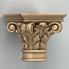 carved column capital x Wood Carving Faces, Wood Carving Designs, Wood Carving Patterns, Wood Carving Art, Wood Patterns, Column Capital, Pillar Design, 3d Cnc, 3d Mesh