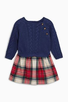 Купить Платье с темно-синим вязаным топом и юбкой в клетку (0 мес. - 2 лет) Купить онлайн прямо сейчас на Next: Украина