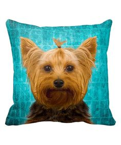 This Turquoise I Love My Yorkshire Terrier Throw Pillow is perfect! #zulilyfinds
