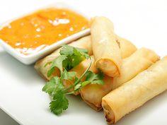 Vegan Banh Mi Spring Rolls with Chili sauce.