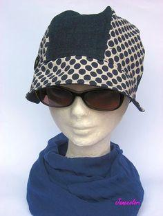 Cappello berretto donna con visiera stile anni 30,hat women dots, chapeau femme,blu a pois e jeans : Cappelli, berretti di janecolori-accessoires