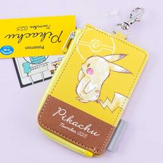 Pokémon Pikachu Number 025 Key Holder & Card Case - Blippo Kawaii Shop Bus Pass, Kawaii Accessories, Card Storage, New Pokemon, Kawaii Shop, Welcome Gifts, Cute Cases, Leather Material, Card Case