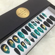 Matte Black & Turquoise Stone Stiletto Press On by NailedByCristy