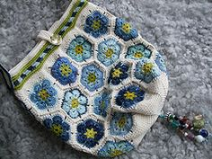 Blues Bag (MiA Inspiration) Tags: blue flower green bag crochet hexagon lime africanflower