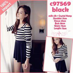 Black and White Striped Cotton Cute Korean Sexy Mini Dress #Jual
