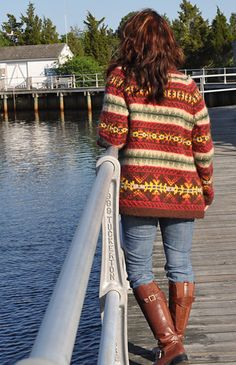 Ravelry: Autumn Fire pattern by Maureen Moody Maybe make with only 2 colours? A plain yarn and a self striping one? Knitting Patterns Free, Knit Patterns, Free Knitting, Free Pattern, Knit Jacket, Knit Cardigan, Fair Isle Pattern, Knitting Magazine, Fair Isle Knitting