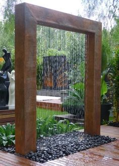 26.) This copper rain shower is decorative, but it can also help you cool off on hot days.