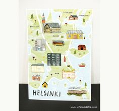Helsinki Illustrated Map - Finnish Art Print - City Map Poster  Scandi style illustrated map print of Helsinki, Finland. The perfect cartographic poster / wall decor for you home.  High quality print of original illustration on thick paper.  A3 size 297 x 420 mm  ............................................................................................................................  Protective cellophane and card packaging for posting. A3 print is likely to be posted in poster tube…