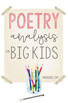 Poetry Analysis for BIG KIDS-how to engage your upper elementary to middle school students' love of poetry through thoughtful and meaningful poetry analysis instruction. Teaching Poetry, Teaching Reading, Teaching Ideas, Reading Resources, Guided Reading, Teaching Tools, Learning, Upper Elementary, Elementary Schools