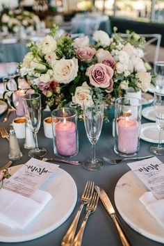 Must See Hottest Mauve Wedding Decorations for Your Upcoming Day- glass candles wedding centerpieces, Candle Wedding Centerpieces, Wedding Table Decorations, Wedding Table Centerpieces, Decoration Table, Floral Centerpieces, Centerpiece Ideas, Floral Arrangements, Mauve Wedding, Floral Wedding