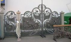 Wrought Iron Doors, Corrugated Metal, Carnivorous Plants, Iron Work, Container Flowers, Gate Design, Garden Gates, Home Projects, French Country