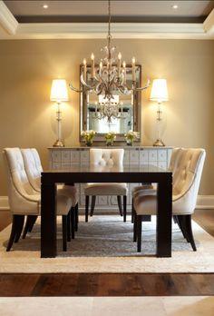 Elegant Dining Room Love The Dark Floors Rug And Paint