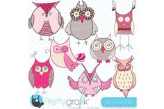 pink owl clipart commercial use - Illustrations - 2
