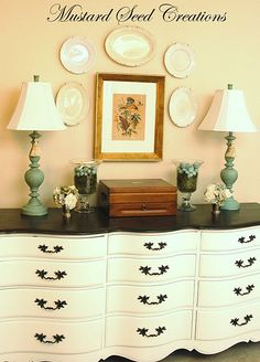 This was a Craigslist find that the blogger painted and refinished.  I'm always a sucker for black and white!