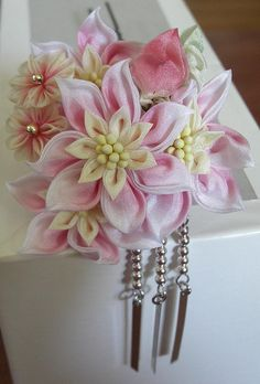 Pretty pink kanzashi flowers.