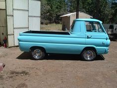 Light blue Dodge A100 truck Old Dodge Trucks, Pickup Trucks, Vintage Vans, Vintage Trucks, Cool Trucks, Cool Cars, Classic Trucks, Classic Cars, Chevy Vehicles