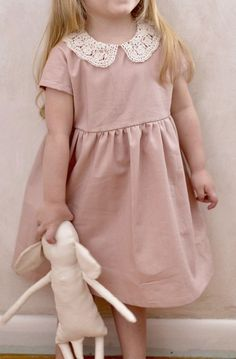 'Mabel' Handmade Blush Linen Dress With Lace Collar | SweetHannahBDesigns on Etsy