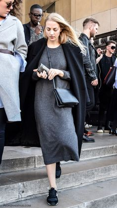 Outfit Inspiration: Coat and Sneakers #Paris #streetstyle by PeopleandStyles.com