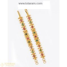 22K Gold Ear Chain (Matilu) with Ruby & Emerald - 1 Pair - 235-GEM018 - Buy this Latest Indian Gold Jewelry Design in 11.000 Grams for a low price of $702.99