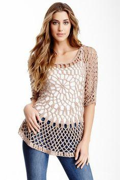 Smitten 3/4 Sleeve Crochet Tunic by Smitten on @HauteLook