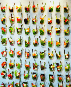 Appetizer Salad Wall. Catering by Fresh Ideas