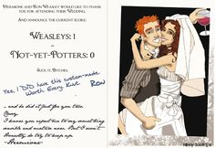 """In case you can't read Hermione's text, it says:    """"...and he did it just for you two.  Classy.  I know you expect me to say something sensible and mature now. But I won't.  Honestly, do try to keep up.  -Hermione-"""""""