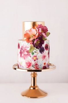 romantic hand painted floral spring wedding cakes