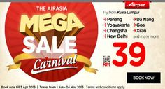 Mega Sale Carnival ! Fly right from Kuala Lumpur to many great traveling destination across Asia starting from RM 39 Book now !  #Cheapflights #Promotion #Airpaz #AirAsia #Travel #Asia #MegaSale #Backpacker #Backpacking #Traveling #Trip #Holiday #Vacation #Sale #Malaysia