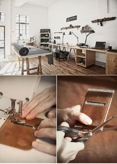 Mathew James Neilson - leather workshop - Pctr UP Workshop Studio, Leather Workshop, Showroom Design, Sewing Studio, Sewing Rooms, Leather Projects, Leather Design, Leather Tooling, Leather Craft