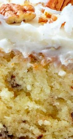 The Best Homemade Italian Cream Cake with Butter Cream Cheese Frosting recipe is a moist cake with sweetened coconut and chopped pecans! Sheet Cake Recipes, Homemade Cake Recipes, Frosting Recipes, Homemade Donuts, Cheesecakes, Just Desserts, Dessert Recipes, Picnic Recipes, Baking Desserts