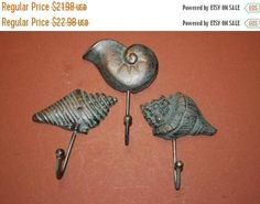 3 Cast Iron Antique Style Nautical SEASHELL Coat Hooks Hat Hook Rack Towel Conch