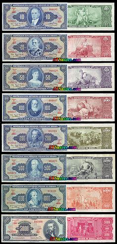 Brazil banknotes, Brazil paper money catalog and Brazilian currency history Financial Literacy, Brazil, Nostalgia, Coins, Old Things, Geek Stuff, Fountain Pens, History, World
