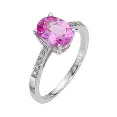 Diamonds with a perfectly pink partner...9ct white gold created pink sapphire and diamond ring - Ernest Jones #ernestjones #pinksapphire #diamonds